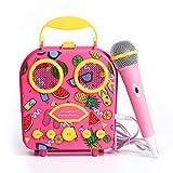 HowQ Bluetooth Speakers, Portable Beach Handbag Karaoke Bluetooth Speaker Wireless Cartoon Speaker for Kids for Indoor Outdoor Travel Activities with Microphone (Pink)