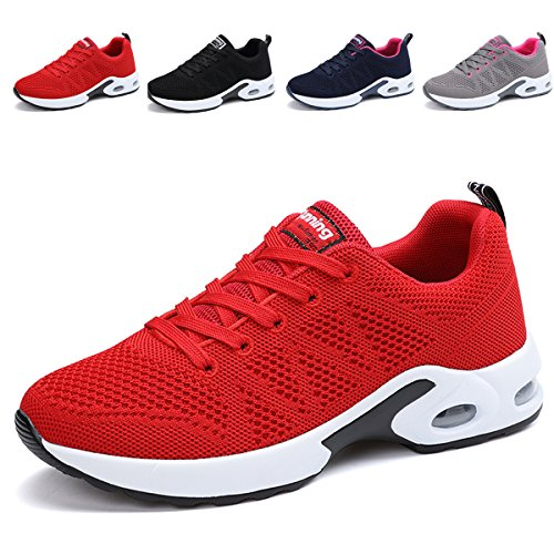 JARLIF Women's Breathable Fashion Walking Sneakers Lightweight Athletic Tennis Running Shoes (8 B(M), Red)