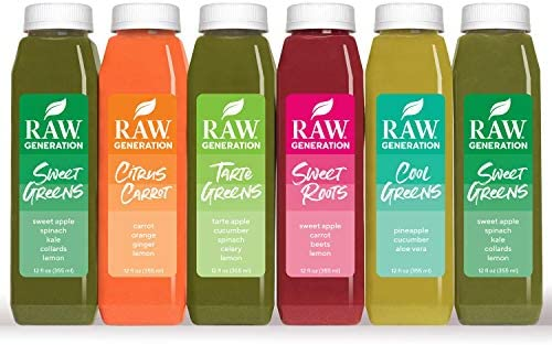 Raw Generation 3-Day Skinny Juice Cleanse for Fast Weight Loss, 100% Raw Plant-Based Detoxifying Cleanse, Healthy Fruits, Vegetables, and Probiotics for Gut Health, 6 Delicious Flavors (18 Count) 3