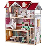 TOP BRIGHT Wooden Dollhouse with Elevator Dream Doll House for Little Girls 5 Year Olds