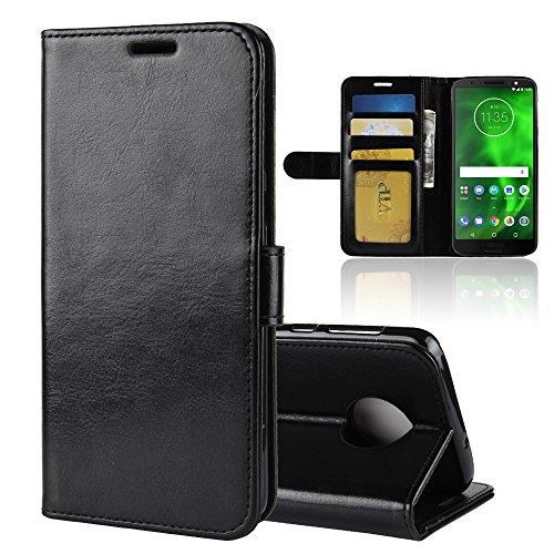 Jarning Leather Case For Motorola Moto G6 Xt1925dl Flip Cover With Card Slots Magnetic Closure Protective Slim Premium Case Black Pricepulse