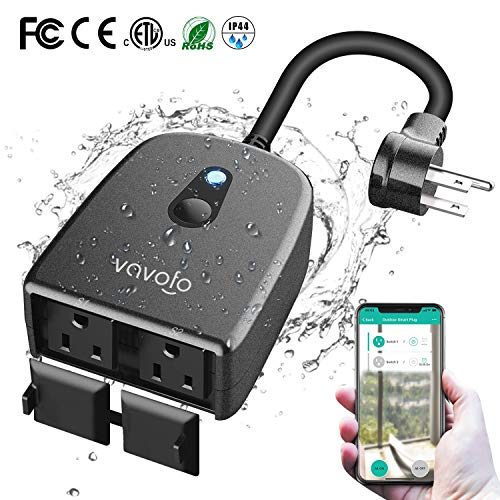VAVOFO Outdoor Smart Plug, WiFi Outlet with 2 Sockets, Compatible with Alexa Google Home, IP44 Waterproof, Wireless Remote Control Timer & Countdown by Smartphone APP