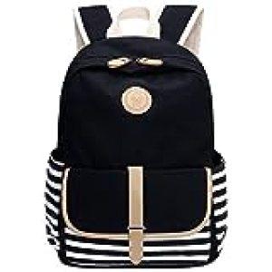 FIGROL School Backpack, Lightweight Canvas Book Bags Shoulder Daypack Laptop Bag(Black)