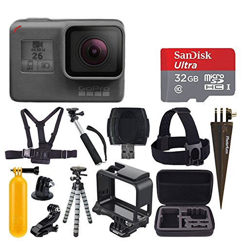 GoPro HERO6 Black + SanDisk Ultra 32GB Micro SDHC Memory Card + Hard Case + Chest Strap Mount + Head Strap Mount + Flexible Tripod + Extendable Monopod + Floating Handle – Great Value Accessory Bundle