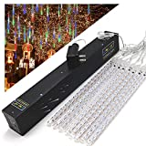 OMGAI Waterproof Meteor Shower Rain Lights - 30cm 8 Tubes Drop Icicle Snow Falling Raindrop Cascading Lights for Wedding Party Christmas, Shine Colorful (UL Listed Plug)
