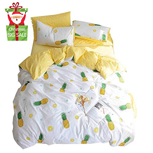 XUKEJU 100% Cotton Soft Children/Adults Duvet Cover Set Yellow Fruits Printed Pattern Reversible Boys Girls Bedding Set Pineapple 3 Pieces with 2 Pillow Cases Best Bedding Gifts Queen/Full Size