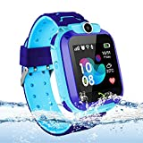 Themoemoe Kids Smart Watch Phone, Kids GPS Tracker Watch with SOS Anti-Lost Alarm Sim Card Slot Touch Screen Smartwatch for 3-12 Year Old Children Girls Boys(Blue)