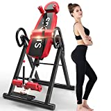 Bigzzia Gravity Heavy Duty Inversion Table with Headrest & Adjustable Protective Belt Back Stretcher Machine for Pain Relief Therapy (red)