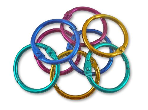 The Classics 1-Inch Diameter 50 Count Book Rings in Assorted Bright Colors (TPG-189)