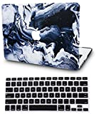 KECC Laptop Case for MacBook Pro 13' (2019/2018/2017/2016) w/ Keyboard Cover Plastic Hard Shell A1989/A1706/A1708 Touch Bar 2 in 1 Bundle (Black Grey Marble)