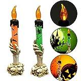 KingFurt 2PCS Halloween LED Light Skull Candle Holder Skeleton Ghost Hand Flameless Candle LED Light Battery Operated Party Bar Decoration Lamp