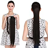 22' Human Hair Ponytail Wrap Around Clip in Ponytail Hair Extensions for Women Jet Black(#1) 100g/3.5oz