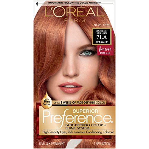 L'Oreal Paris Superior Preference Fade-Defying + Shine Permanent Hair Color, 7LA Lightest Auburn, Pack of 1,