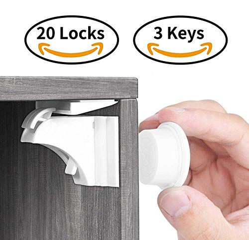 Child Safety Magnetic Cabinet Locks(20 Locks + 3 Keys), Baby Proof, No Tools Or Screws Needed - Norjews
