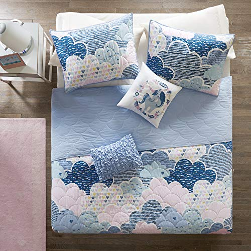 Urban Habitat Kids Cloud Bedding Blue, Geometric, Unicorn – 4 Piece Kids Girls 100% Cotton Quilt Sets Coverlet, Twin…