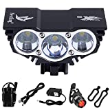 Nestling Solarstorm 1200Lm U2 XML CREE LED Mountain Cycle Lights Front Bike Lights Bicycle Light Headlamp Torch Headlight Rechargable Head Lights Flashlight 4x18650 Battery Rear Light (X3 Black)
