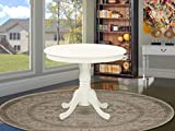 East West Furniture ANT-LWH-TP Antique Table 36' Round with Finish, Linen White