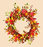 """Worth Imports Fall Berry Wreath with Foliage, 18"""""""