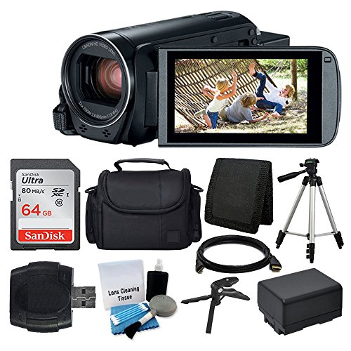 Canon-VIXIA-HF-R800-Camcorder-Black-SanDisk-64GB-Memory-Card-Digital-CameraVideo-Case-Extra-Battery-BP-727-Quality-Tripod-Card-Reader-Tabletop-TripodHandgrip-Deluxe-Accessory-Bundle