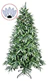 ABUSA Multicolor PE/PVC Mixed Pine Artificial Glitter Christmas Tree 7.5 ft Prelit with 600 UL Warm White Strawberry LED String Lights Metal Stand