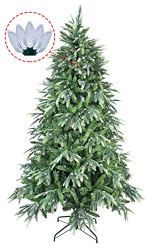 ABUSA Prelit Potted Pencil Christmas Tree 6.5 Feet with Pine Cones Red Berries 200 LED Lights 428 Branch Tips Flocked Slim Xmas Tree