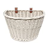 Colorbasket 01570 Adult Front Handlebar All Wicker Bike Basket, Hand Woven, Adjustable Leather Straps, White