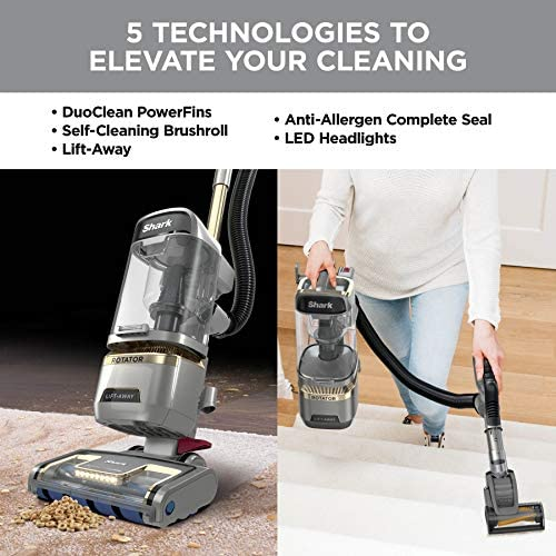 Shark LA502 Rotator Lift-Away ADV DuoClean PowerFins Upright Vacuum with Self-Cleaning Brushroll Powerful Pet Hair Pickup and HEPA Filter, 0.89 Quart Dust Cup Capacity, Silver 14