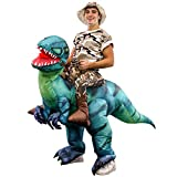 Halloween Haunters Inflatable Dinosaur Rider Costume Suit Child, Kid, Teen Size - T-Rex, Velociraptor, Reptile Blow Up with Inflation Fan - Put Yourself On Display at a Party - Girls Boys Birthday