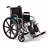 Medline Excel 2000 Wheelchair, 18' Wide Seat, Desk-Length Arms, Swing Away Footrests, Chrome Frame