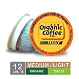 The Organic Coffee Co. OneCup, Gorilla DECAF, Single Serve Coffee K-Cup Pods (12 Count), Keurig Compatible