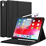 iPad Pro 12.9 Case with Keyboard 2018-3rd Gen [Support Apple Pencil Charging] [with Pencil Holder] Magnetically Detachable Wireless Keyboard for iPad Pro 12.9 2018 (Not for 2017/2015), Black