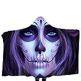 FEDULK Halloween Costume Funny 3D Digital Print Wear Home Blanket Scarf Prom Hooded Shawl Wraps(D)