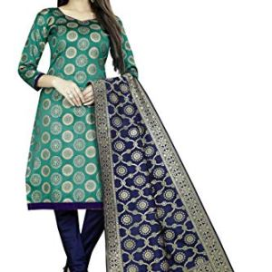 satyam weaves women's ethnic wear cotton silk rama colour dress material. (Aksara rama)