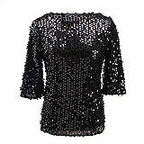 Women Sequin Sparkle Glitter Tank Cocktail Party Tops Shimmer Glam Glitter T-Shirt Blouses (Large, Black)