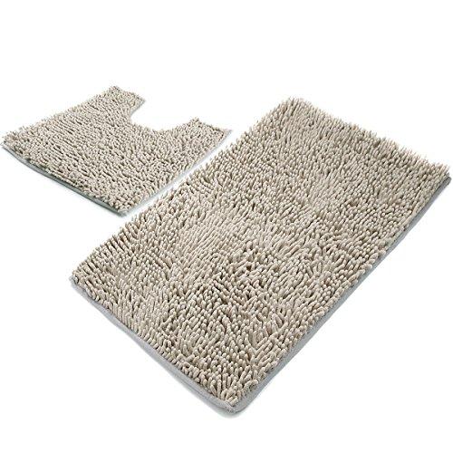 vdomus microfiber bathroom contour rugs combo set of soft shaggy non slip bath shower mat and u. Black Bedroom Furniture Sets. Home Design Ideas