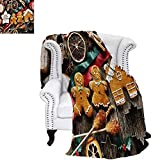 CHASOEA Gingerbread Man Summer Quilt Comforter Delicious Homemade Cookies Dried Fruits and Bakery Tools Festive Rustic Digital Printing Blanket 60'x36' Multicolor
