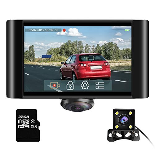 360 Degree Dash Camera for Cars - AKASO 2K Full View Dual Dash Cam Front and Rear Car DVR Dashboard Video Recorder with 5' Touch Screen G-Sensor Parking Monitor Loop Recording 32GB Card Included