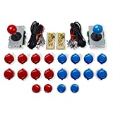 Marwey Arcade Buttons and Joystick Kits DIY Controller USB Encoder to PC Games 2 5Pin 8 Ways Joystick + 20x Push Buttons (2.8mm Terminal) for Windows MAME Raspberry Pi 1 2 3 KOF Parts Red and Blue ...