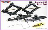 LIBRA Set of 4 5000 lb 24' RV Trailer Stabilizer Leveling Scissor Jacks w/Handle & Dual Power Drill Sockets & Mounting Hardware -Model# 26020 …