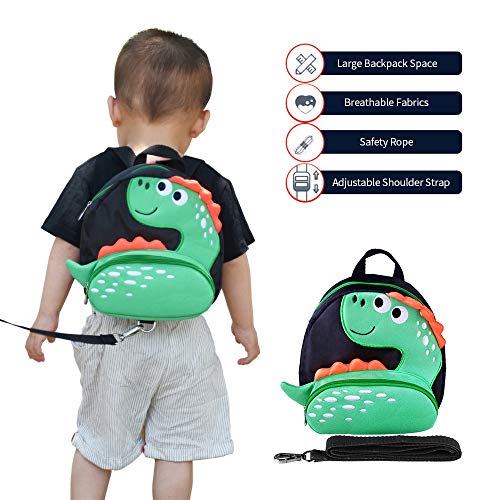 Toddler Backpack with Anti-Lost Harness Small Dinosaur Backpack Safety Leash for Boys and Girls Age 1-3 Years Old ...
