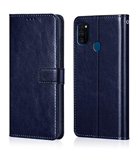 51n1KZT7hLL - WOW Imagine Galaxy M21 / M30s Flip Case | Leather Finish | Inside TPU with Card Pockets & Stand | Magnetic Closure | Shock Proof Wallet Flip Cover for Samsung Galaxy M30s / M21 - Blue