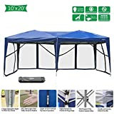 VINGLI 10x20ft Easy Pop Up Canopy Tent w/ 6 Removable Zippered Mesh Sidewalls & Portable Wheeled Carrying Bag, for Patio/Gazebo/Camping/Outdoor Activities, Blue UV Coated Sun Shade Shelter