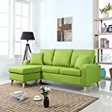 Divano Roma Furniture Mid Century Modern Linen Fabric Small Space Sectional Sofa with Reversible Chaise (Green)
