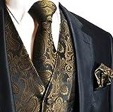 Men's 3pc Paisley Design Dress Vest Tie Handkerchief Set For Suit or Tuxedo (4XL (Chest 56), Brown/Black)