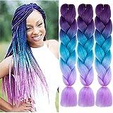 Synthetic Braiding Hair Bundles Kanekalon Hair Ombre Twist Braiding Hair Fiber Jumbo Hair Extensions for Women (3 Bundles, Purple-Lake Blue-Light Purple)