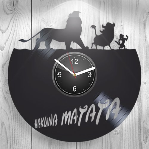 Hakuna Matata Walt Disney The Lion King Simba Mufasa Gift For Boyfriend Girlfriend Wall Art, New Handmade Vinyl Wall Clock Decor, Office Decoration For Living Room Inspirational, Best Present For Him