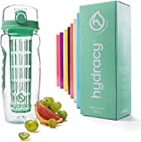 Hydracy Fruit Infuser Water Bottle - 32 Oz Sports Bottle with Full Length Infusion Rod, Time Mark and Insulating Sleeve Combo Set + 27 Fruit Infused Water Recipes eBook Gift - Aqua Green