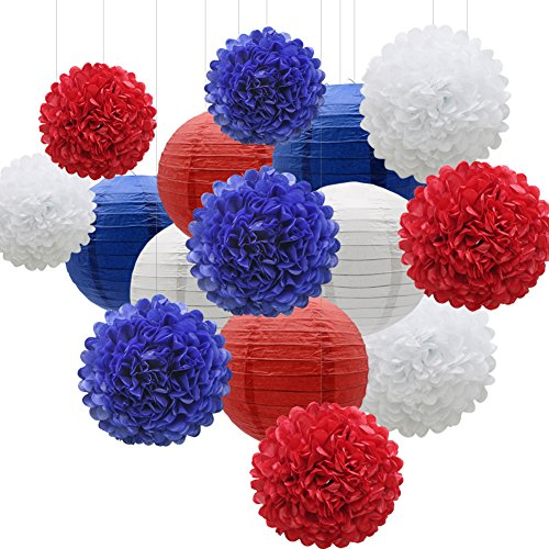 KAXIXI Hanging Party Decorations Set, 15pcs Navy Blue White Red Paper Flowers Pom Poms Balls and Paper Lanterns for 4th of July Decorations Patriotic Decoration Wedding Birthday Baby Shower