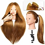 SILKY Mannequin Head with 40% Human Hair 28' Training Head with Clamp and Tools for Cosmetology Practice, Braide Hairdress Manikin Doll Head for Hair Styling - #27 Blond No Make-up