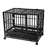 TONYRENA 42 inch Heavy Duty Strong Folding Metal Dog Crate Kennel Playpen for Large Dogs and Pets with Patent Lock and Lockable Wheels&Tray